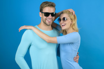 Emotional connection. Couple of man and woman wear fashion glasses. Fashion models in trendy sun glasses. Couple in love. Love relations. Friendship day. Friendship relations. Love is precious