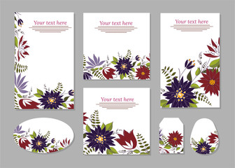 Set of cards, posters, flyers with floral ornaments.