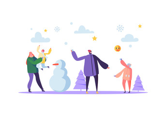 Happy Family Characters Playing Snowball on Winter Holidays. Cheerful Mother and Father Throwing Snowballs and Making Snowman. Vector illustration
