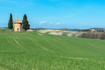 Tuscany landscape with the little chapel of Madonna di Vitaleta, Tuscany, Italy
