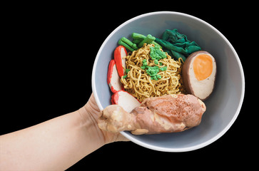 Sclupture molding clay Stewed chicken eggs noodle with red sauce pork and choy in hand has clipping path