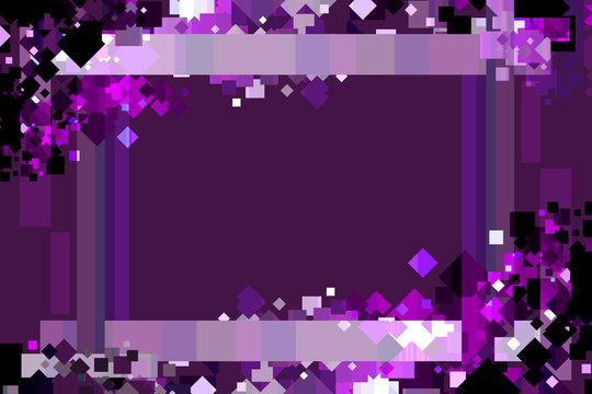 Graphic Design Background. Colorful Confetti Frame with Copy Space. Purple, Lavender, and Violet.