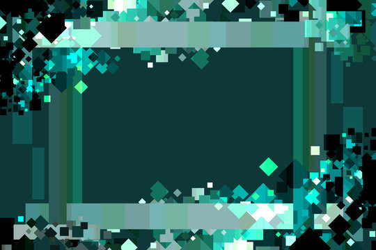 Graphic Design Background. Colorful Confetti Frame with Copy Space. Green, Teal, Emerald, and Cyan.