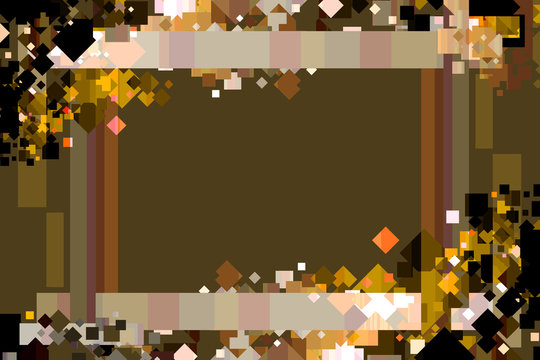 Graphic Design Background. Colorful Confetti Frame with Copy Space. Brown, Gold, and Orange.
