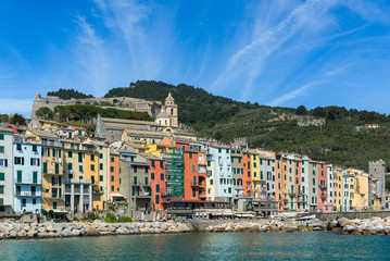 Portovenere town seen from the sea, Italy