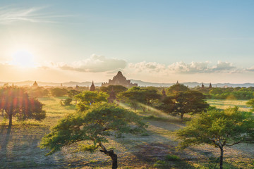 sunset moment in Bagan, view from terrace of the incredible landscape of this magic historical area, Myanmar