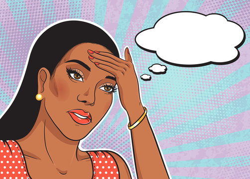 African american fatigue woman face with thinking balloon vector illustration in pop art retro comic style, sad woman portrait