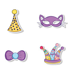 set party hats and cat mask with ribbon bow style