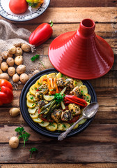 Moroccan fish tagine with chermoula, red peppers and potato