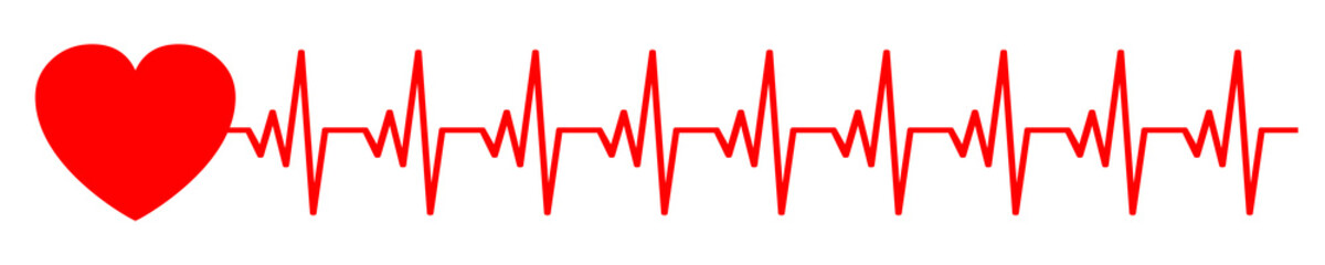 Heart pulse, cardiogram sign, heartbeat, one line - stock vector