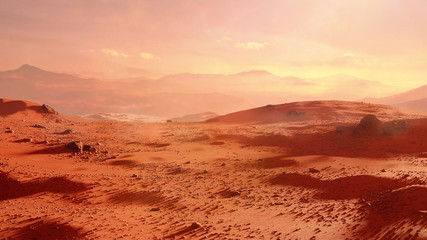 Photo sur Toile Brique landscape on planet Mars, scenic desert scene on the red planet