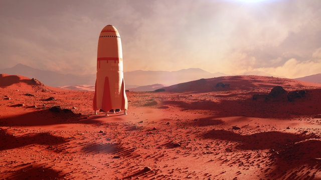 landscape on planet Mars, rocket landing on the red planet's surface
