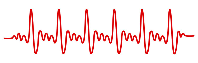 Heart pulse, cardiogram sign, heartbeat, one line - vector