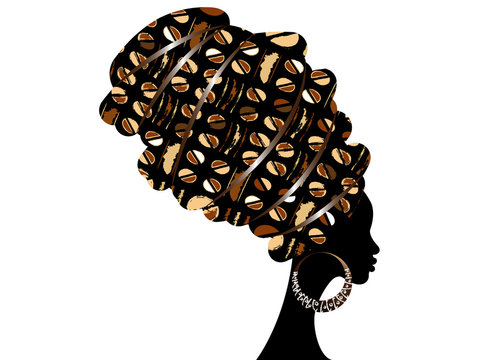 portrait beautiful African woman in traditional turban, Kente head wrap. Mali Bogolan mud cloth, ethnic dashiki printing, black women vector silhouette isolated with earrings, Afro homespun  fabric