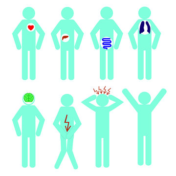 Collection of stick figures, human icon symbol sign medical. Vector.