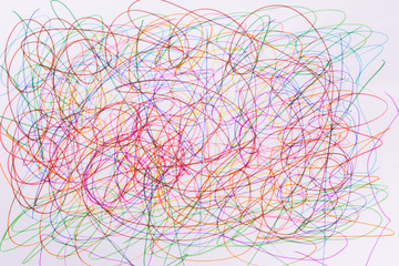 different colors felt tip pen scribble on white paper, abstract, creative concept, children drawing