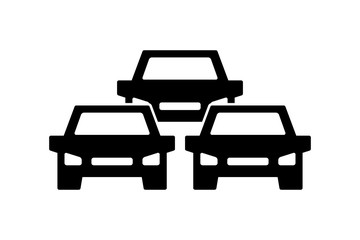 Traffic jam icon, symbol and sign isolated on white