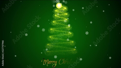 Animated Christmas Tree On Green Background Merry