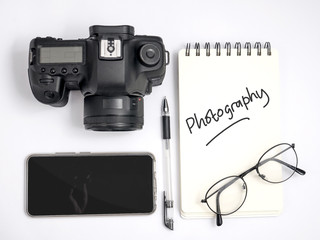 Photography Concept, Top View Flat Layout Working Desk