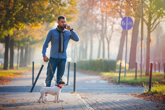 Young man with dog walking at autumn season alley.