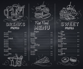 Template chalkboard menu cafe