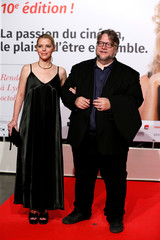 Del Toro and guest attend the opening of the Lumiere 2018 Grand Lyon Film Festival in Lyon