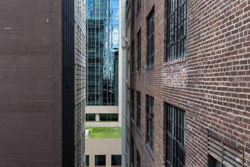 Looking between buildings in an urban area