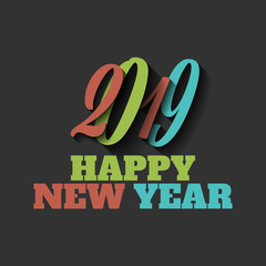Happy New Year 2019 sign on the black background