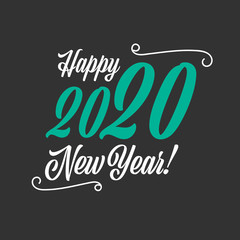 Happy New Year 2020 sign on the black background