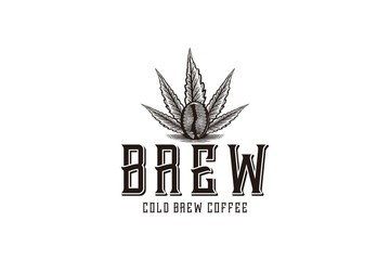 brewing, marijuana leaf and coffee logo Designs Inspiration Isolated on White Background