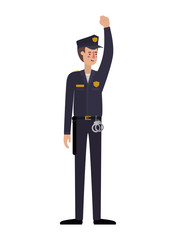 man police with hand up avatar character