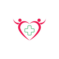 healthy people heart shape logo vector