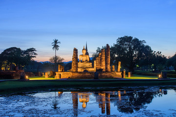 Mahathat temple in twilight time,Sukhothai Thailand.