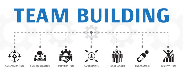 team building concept template. Horizontal banner. Contains such icons as collaboration, communication, cooperation, team leader