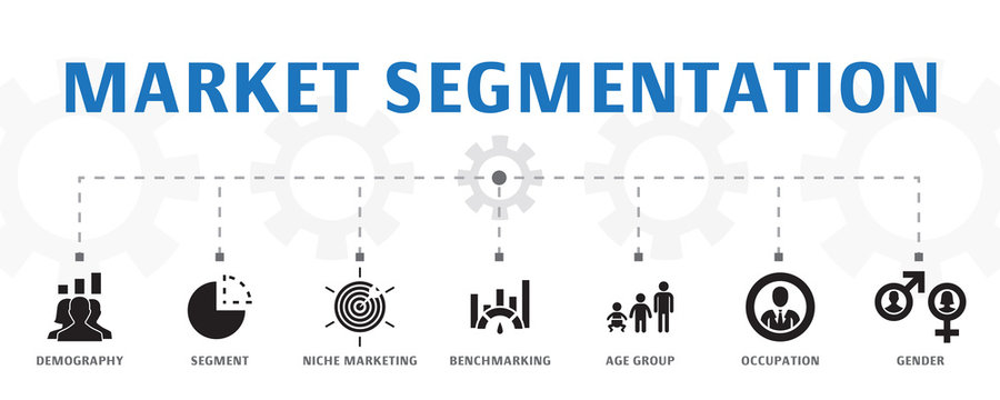 market segmentation concept template. Horizontal banner. Contains such icons as demography, segment, Benchmarking, Age group