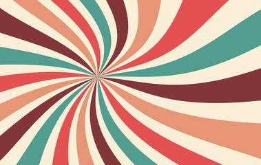retro starburst or sunburst background vector pattern with a vintage color palette of red pink peach teal blue brown and beige in a spiral or swirled radial striped design Fototapete