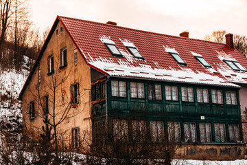 Abandoned building red green