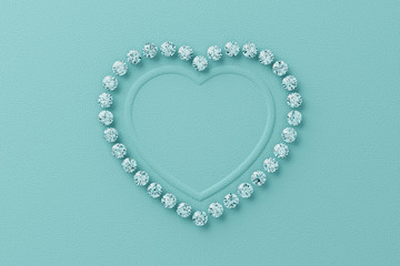 Heart shaped frame of diamonds on tiffany blue background. 3D rendering
