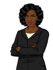 Vector color image of an African American woman isolated on white background. Successful business woman in office suit. Lady boss with arms crossed