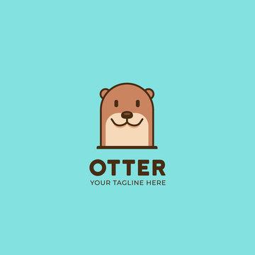 Simple cute animal beaver or otter head logo icon illustration symbol