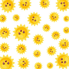 sun with faces pattern