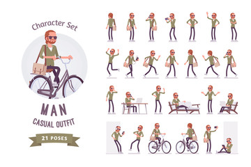 Young red-haired man ready-to-use character set