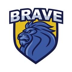 Lion Head Logo Shield Template. Element for Brand Identity. Vector Illustration
