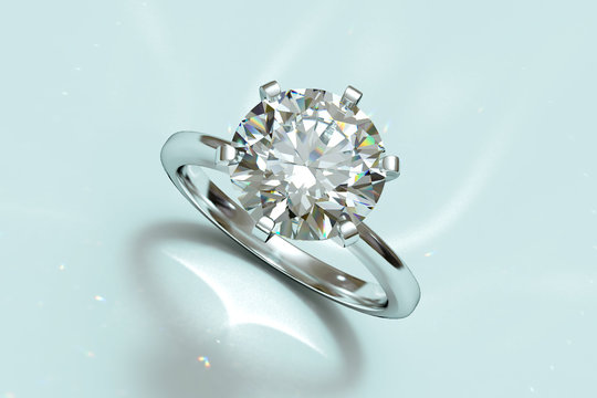 Round cut solitaire diamond engagement ring on light blue background. 3D rendering