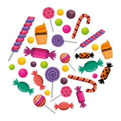 sweet candies set icons