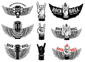 Set of vintage rock music fest emblems. Hand with Rock and roll sign with wings. Design element for logo, label, sign, poster, t shirt.