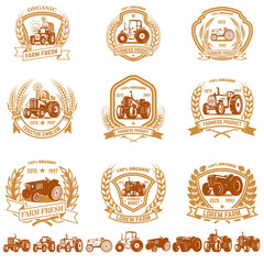 Set of vintage farmer emblems with tractors. Design element for logo, label, sign, poster, t shirt.
