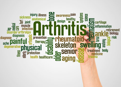 Arthritis word cloud and hand with marker concept