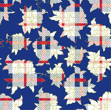 floral with checks  pattern