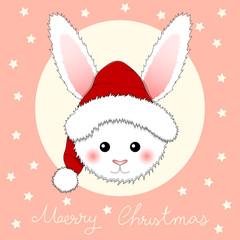 White Rabbit Santa Claus on Pink Greeting Card.